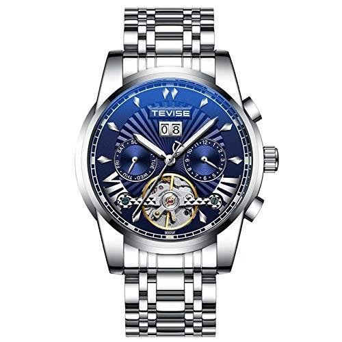 QZPM Hombres Automático Mecánico Relojes Acero Inoxidable Bracelet Esfera Luminosa Multifunción Calendario Impermeable Cronógrafo Business Relojes,Azul