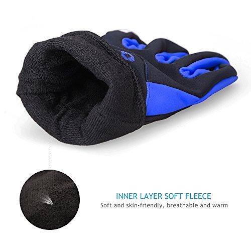 Inbike Fahrradhandschuhe Winter Thermo Gepolsterte Handfläche Radsport Gel Handschuhe Windddichte(Blau,L) - 3