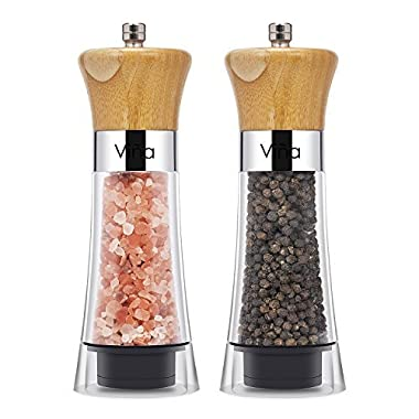 Vina Manual Salt Pepper Grinder Set of 2, Wood Top Pepper Mill and Salt Mill with Ceramic Adjustable Rotor, Chess Piece Design - Free Garlic Roller As Gift