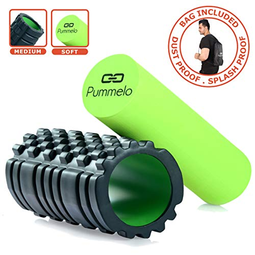 Pummelo Foam Roller for deep Tissue Massage for Muscle Fitness Exercise Therapy Yoga with Bag Medium with Multi Trigger Point and Soft 2 in 1