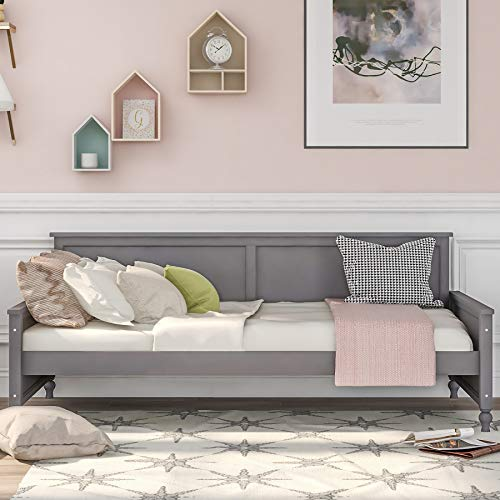 Danxee Wooden Daybed Frame with Bulb-Shaped feet Design Twin Size Platform Bed Frame Wooden Slats Support No Box Spring Needed Sturdy Sofa Bed for Bedroom Living Room (Gray)