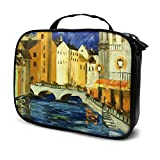 European Town Cosmetic Bag Toiletry Bag, Artist Makeup Organizer Professional Portable Storage Bag Estuche de Viaje con asa Superior