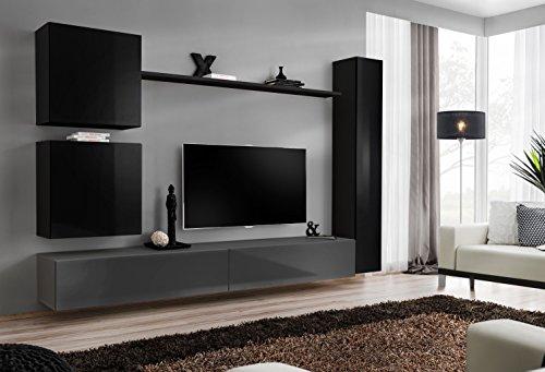 all4all Wohnwand Hochglanz Anbauwand Schrankwand Wohnwand Fernsehschrank SW 8 (Schwarz - Grau - Moris)