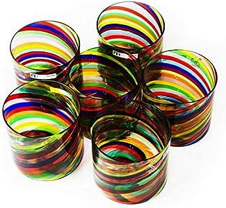 Juego de vasos de cristal de Murano, juego de vasos multicolor, juego de 6 vasos a rayas, juego de vasos hechos a mano, marca de origen garantizada, YourMurano, Bellatrix