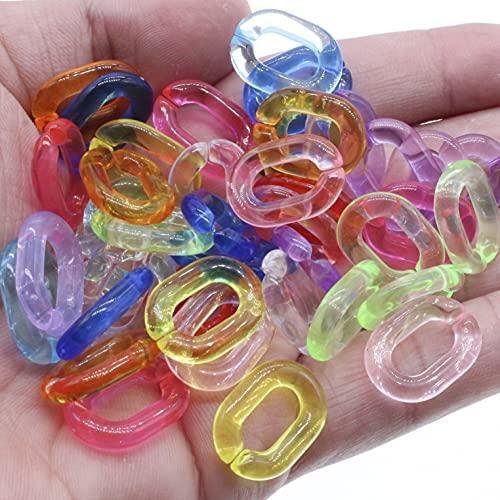 AFANGMQ 100 unids Transparente Colores Mixtos Acrílico Twist Oval Abra Anillo Abierto Conector Conector Cadena de Enlace para Collar Pulsera Haciendo