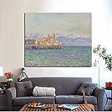 Impresión HD Mediterráneo Fuerte de Antibes Claude Monet pintura al óleo sobre lienzo arte impresionista sofá imagen de pared para sala de estar 30x45 CM (sin marco)