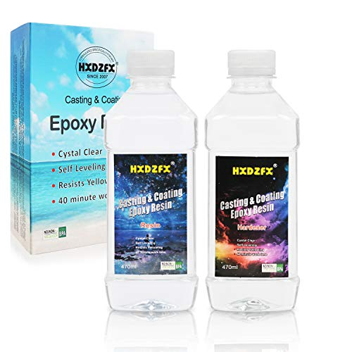 Epoxy Resin 33.1oz/937g Kit - 1:1 Ratio Crystal Clear Resin Coating for Wood, Bar, Table, Jewelry Making, Craft Decoration