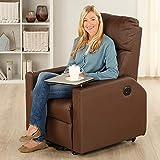maxVitalis Fernsehsessel – Relaxsessel – Komfortsessel mit Aufstehhilfe, Wärmefunktion & Massage || ausklappbarer Seitentisch || inkl. Seitenfach (Braun) - 2