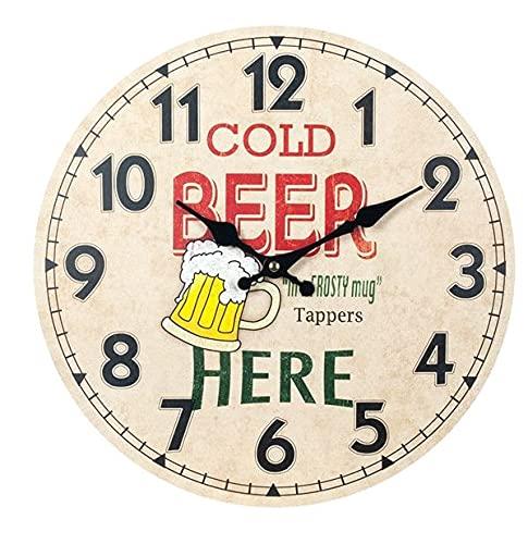 Reloj de Pared Decorativo de Madera Multicolor Jarra Cerveza Fria .Adornos. Decoración Hogar. Muebles Auxiliares. Menaje . Regalos Originales. 34 x 4 x 34 cm.