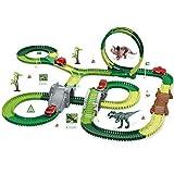 El juguete favorito del bebé, gran regalo para los Dinosaur Carry Race Track Toy D Juguete ensamblado Crea una pista de dinosaurios, juguete de dinosaurio para niños niños niños niñas de 3 años
