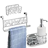 mDesign Decorative Metal Kitchen Sink, Countertop Combo - Includes Dish Soap Pump with Scrubber Caddy, In-Sink Suction Soap/Sponge Holder, Over Cabinet Door Towel Bar - Vines, Set of 3 - Silver/White