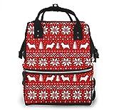 Bolsa de pañales de gran capacidad, impermeable, para el cuidado del bebé, versátil, elegante y duradera, apta para mamá y papá (siluetas de Norwich Terrier, patrón de suéter de Navidad)