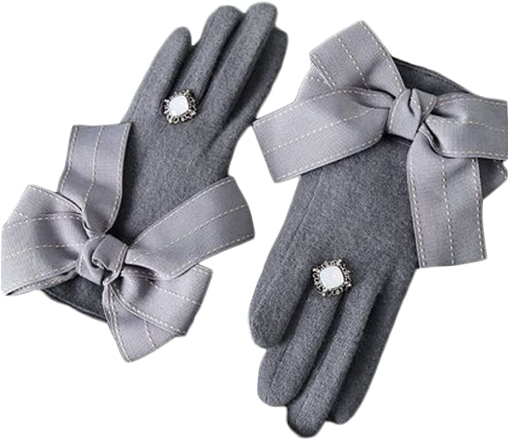 Winter Gloves For Women Fluffy Wool Gloves Warm Mitten Fleece Cute Bowknot Lining Cycling Running Ski Cold Weather