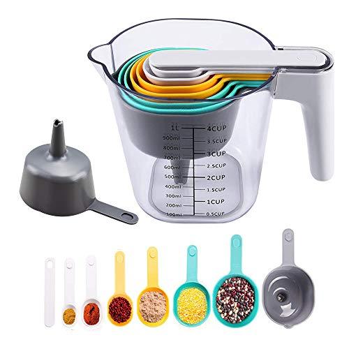 OBEST 9 Pcs Cuchara medidora conjunto de taza medidora. Vaso medidor de plástico graduado de 1000 ml para hornear en la cocina