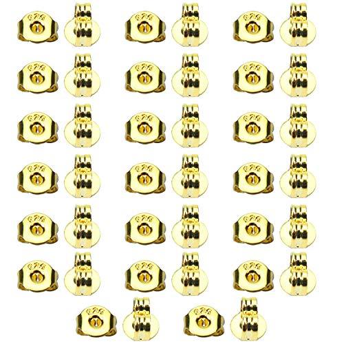TOAOB 10 Pares Plata de Ley 925 Tono Dorado Tuercas de Pendientes Cierres Tapón de Seguridad Tope...