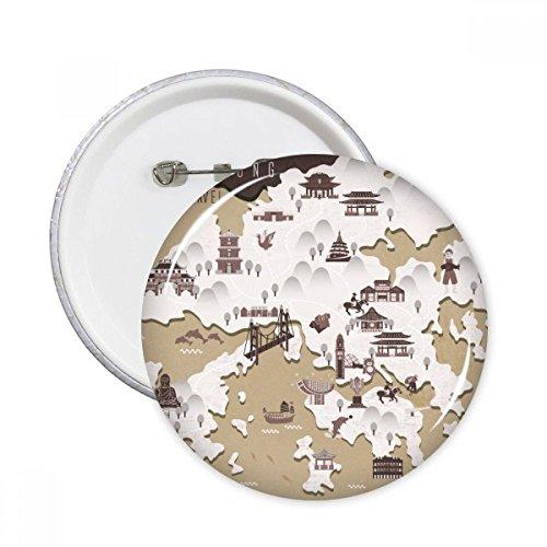 DIYthinker Hong Kong Locatie Kaart China Ronde Pins Badge Knop Kleding Decoratie Gift 5 stks M Multi kleuren