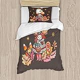 Juego de funda de edredón de bruja Dani, juego de cama decorativo de 3 piezas con 2 fundas de almohada, tamaño individual, multicolor individual de 39 x 75 pulgadas