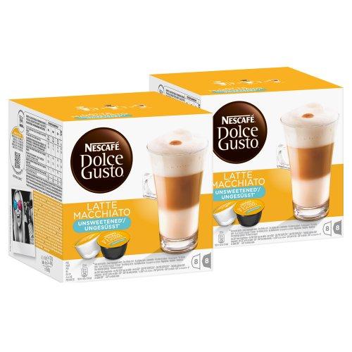Nescafé Dolce Gusto Latte Macchiato Ungesüßt, Kaffee, Kaffeekapsel, 2er Pack, 2 x 16 Kapseln (16 Portionen)