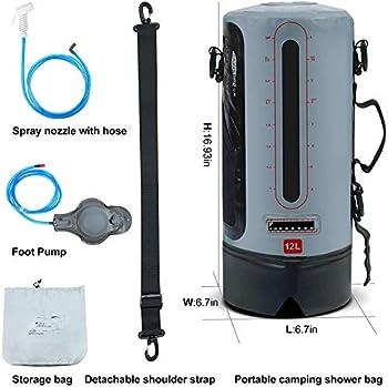 WDSF Sac de Douche Solaire,Sac de Douche de Camping Portable à Chauffage Solaire avec Une Capacité de 12 L avec Indicateur de Température,pour Le Camping Familial D'extérieur, La Plage