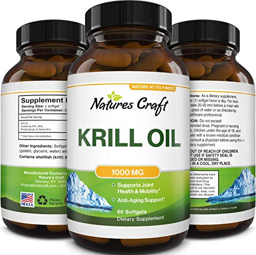 Omega 3 Krill Oil Supplement - EPA DHA Burpless Fish Oil Pills for Liver Aid Joint Support and Heart Health - Fish Oil Capsules Brain Supplement for Bloating and PMS Relief with Omega 3 Fatty Acids