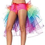 HMMJ Rainbow Layered Tiered Tulle Tutu Clubwear, Bustle Burlesque Costume Ribbon Tie Belt Skirt Party Fancy Dress for Women Girls Dancing Sports (Multi)