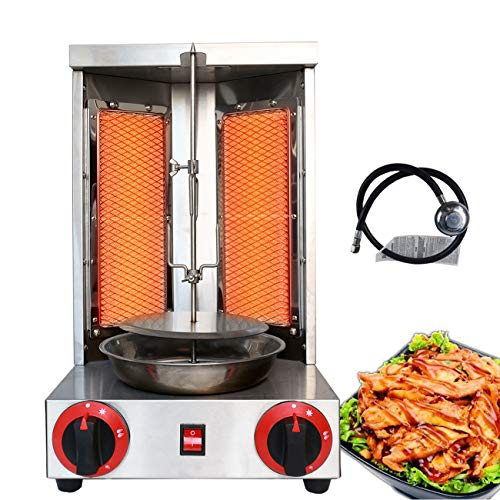 Li Bai Shawarma Machine Doner Kebab Grill Gas Vertical Broiler Gyro Meat Rotisserie with 2 Burner for Restaurant Home Garden