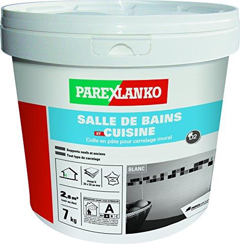 Parexlanko, Salle de bains et cuisine, Colle carrelage en pâte pour mur intérieur spécial pièces humides, 7kg