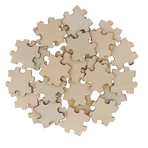 IPOTCH 50pcs Puzzle de Madera en Blanco