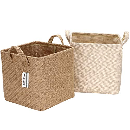 Sea Team Storage Baskets Organizer Box Bins in Jute and Cotton Linen Foldable with Handle Decorative for Home Toiletry Stationery Sundries Toys 10.24 x 10.24 x 10.24 inches 2PCS