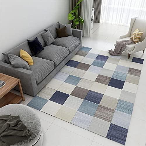 WCCCW Patrón de Plaid Geométrico Simple Moderno Moderno Muebles para Casa Accesorios Sala de Estar Sala de Estar Alfombra de noche-40x60cm para el salón fácil de Limpiar Igual Que la Foto