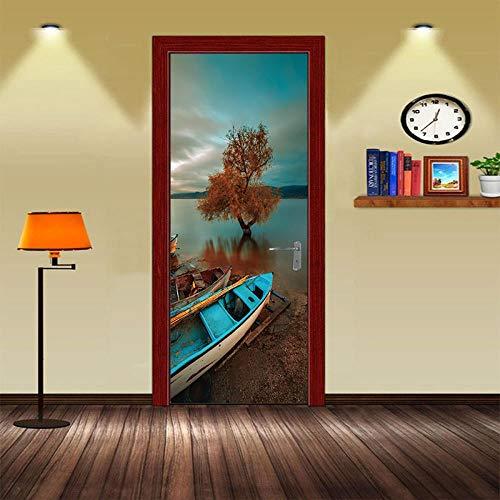 BXZGDJY 3D deurstickers voor binnendeuren zeeboot 77 x 200 cm deurbehang zelfklevend deurposter, zelfklevende 3D-deur-raam-behang-aftrekplaatjes, verwijderbare deur decoratieve afplakfolie voor doe-het-zelf