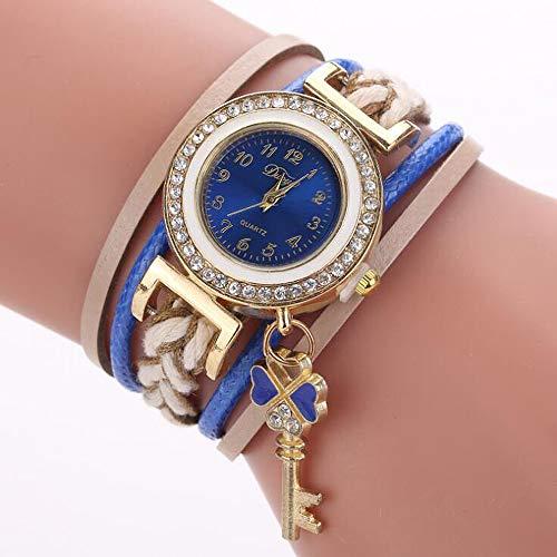 ANLW Damen Strass Decor Runde Zifferblatt Armband Armreif Quarz Armbanduhr Liebe Herz Anhänger Schlüssel,Darkblue