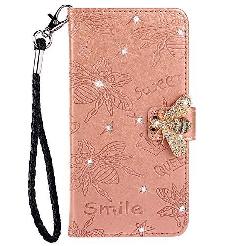 Blllue Rosegold - Funda tipo cartera compatible con iPhone 11 Pro Max, diseño de abeja de diamante con purpurina