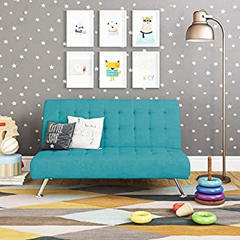 DHP Ariana Kids Sofa Futon Converts from Futon to Bed for Kids Teal