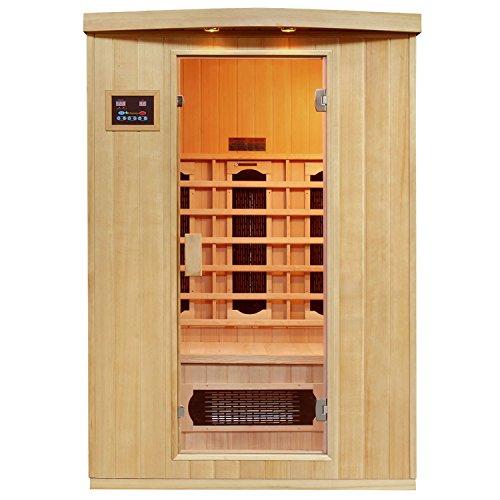 Artsauna Infrarotkabine Visby mit Keramikstrahler | 2 Personen | Hemlock Holz | 130 x 100 cm | Infrarotsauna Infrarot Wärmekabine Sauna Kabine