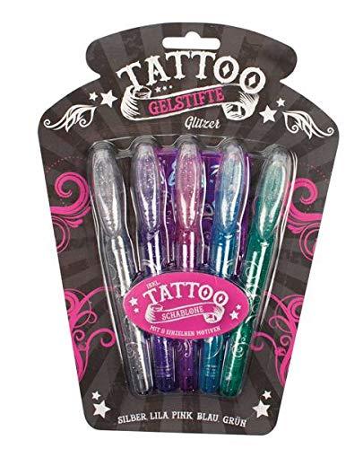 Unbekannt 800327 Tattoo Gelstifte Glitzer mit Schablone, Tattoostifte, Tattoogelstifte