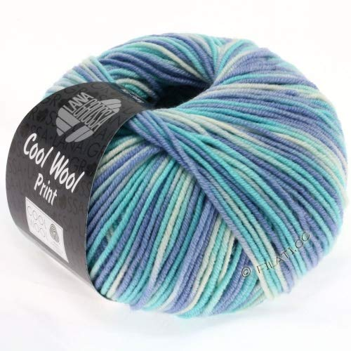 Lana Grossa Cool Wool Print 728 - Himmelblau/Helltürkis/Natur