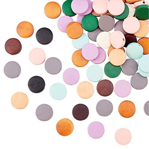 SUPERFINDINGS 250 Uds 10 Colores Natural Plano Redondo teñido Cuentas de Madera de Pera Cuentas espaciadoras Sueltas de Madera con Orificio para Hacer Joyas Manualidades DIY