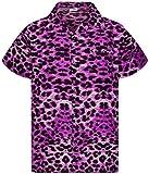 King Kameha Camisa hawaiana de manga corta para hombre, con bolsillo frontal, estampado hawaiano Leopard Ultra violeta. XXXXXXL
