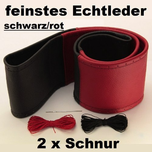 Lenkradbezug schwarz rot echt Leder 37-39 cm zum Schnüren Lenkrad Schoner
