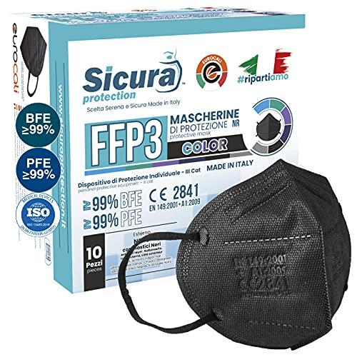 10x CE-zertifizierte FFP3-Masken Schwarz Made in Italy mit aufgedrucktem SICURA-Logo PFE ≥99% | BFE ≥99% SANIFIZIERT und einzeln versiegelt. ISO 13485 und ISO 9001 zertifiziert