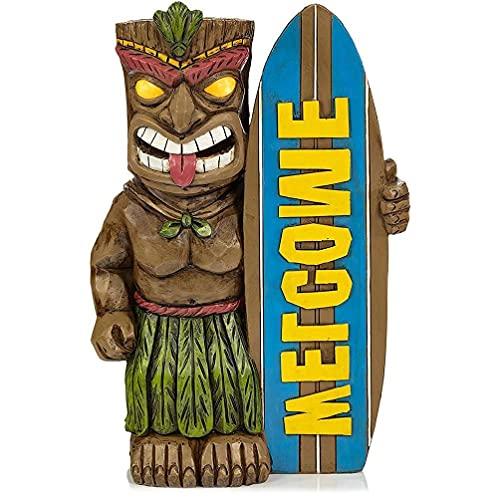 YiPong Creativo vintage resina maya tabla de surf tótem estatua escultura divertida al aire libre patio interior jardín ornamento decoración del hogar regalos resina tabla de surf totem estatua