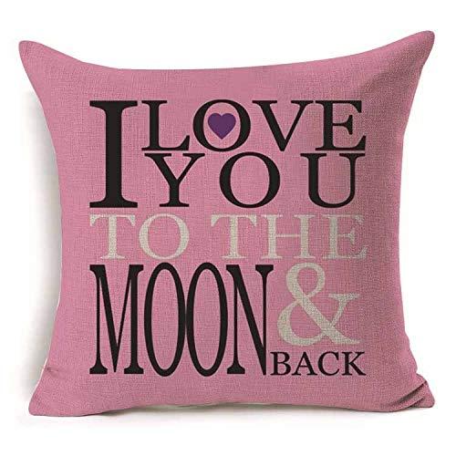 Yilooom Funda de almohada de 40,6 x 40,6 cm, diseño de amor Mr Mrs, algodón y lino, para regalo, decoración del hogar, decoración de boda, funda de almohada decorativa #308