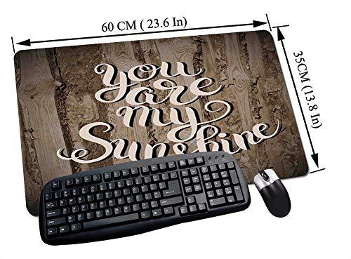 Alfombrilla Raton Gaming,Decoración de citas, frase positiva romántica sobre relación de roble rústico Vida matri,Impermeable con base de goma antideslizante, PC y laptop comfortable mouse pad60x35 cm
