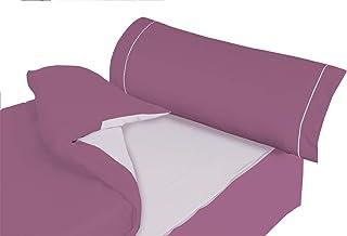 Montse Interiors, S.L. - Saco Nórdico Color Lila y Malva Liso, Modelo Ribet L, para Cama de 90x190/200