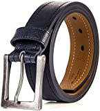 Men's Belt, Genuine Leather Casual Belt, Looks Great with Jeans, Khakis, Dress - With Classic Single Prong Buckle - Black - Style 3-34 (Waist: 32)