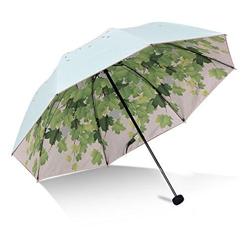 Doppelte Schicht Grüner Baum Blatt Falten Reise Sonnenschirm Sonnenschutz UV Schutz UPF 50+ Regenbeständige Kompakt Größe Sonnenschirm Falten in Geldbörse( grün))