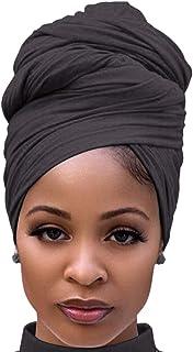 Turban Head Wraps for Black Women Jersey Hijab Scarves Cotton Fashion Long Plain Muslim Shawls Dark Grey