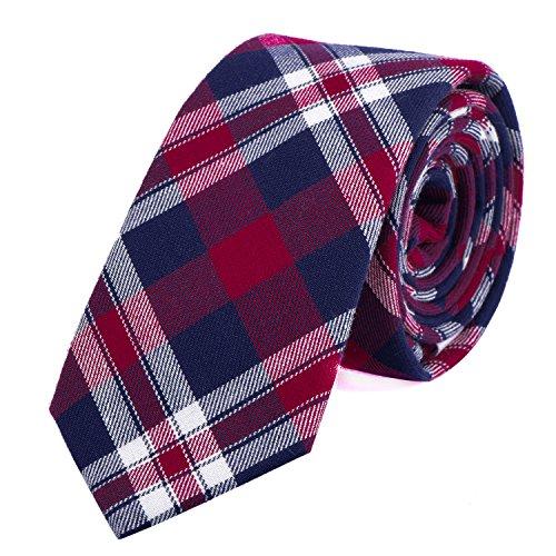DonDon Corbata de cuadros e rayas de algodón para hombres de 6 cm - azul rojo