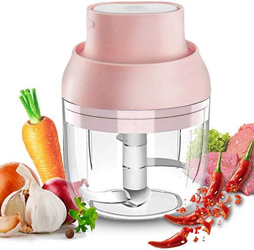 iWhale Mini Elektro Zerkleinerer, 250 ml Elektrische Tragbare Küchenmaschine USB-Lade-Gemüsemixer mit 3 Scharfen Klingen, kleine Mini-Mühle für Babynahrung, Fleisch, Zwiebeln, Knoblauch, Obst